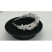 Bandas de pelo nupciales de boda de perlas de cristal hechas a mano de plata accesorios para el cabello de tocado de flores para mujeres para niña