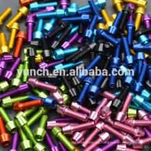 Pernos y tornillos de titanio anodizados DIN Gr5 de alta calidad para bicicleta