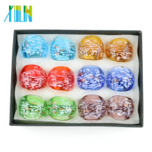 MC1008 New Design Pure Color Hand Lampwork Glass Rings Made by 12pcs/box