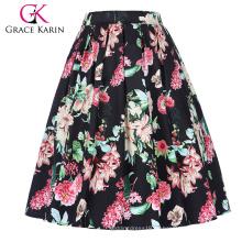 Grace Karin Mujer retro vintage plisado algodón floral estampado verano falda 5 patrones CL010401-4