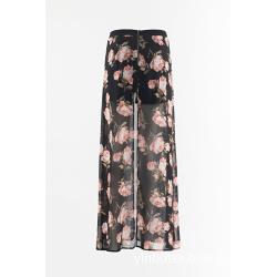 Chiffon print wide trousers