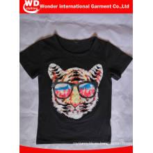 Camiseta impresa caliente de los niños del verano de la moda negra al por mayor