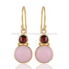 Pink Opal & Garnet Handmade 925 Silver 18K Yellow Vermeil Earrings at best Price