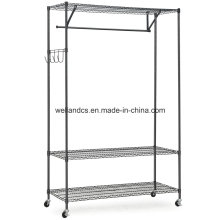 DIY 3 Tier Black Closet Garment Rack with Wheels