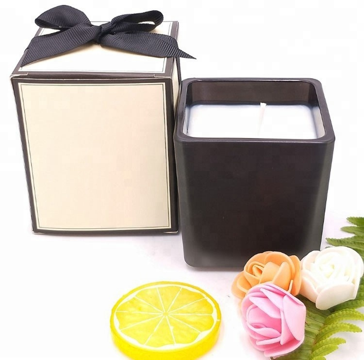 Natural Soy Wax Scented Black Square Glass 3