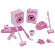 Pretend Play Set Toy Modelo Ferramentas de madeira de limpeza Mini brinquedos de móveis