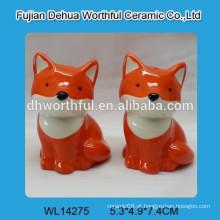 Alta qualidade cerâmica Fox Sal e pimenta Shaker