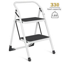 2 Step Ladder Portable Step Stool with Handgrip Anti-slip and Wide Pedal Sturdy Steel Ladder Multi-Use for Home,Garden , Office