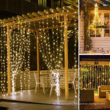 3x3m 300 8 Modes decorative lights Window LED Curtain String Light for Bedroom Decorations