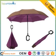 venta al por mayor de 23 pulgadas mano abierta Plástico c mango inverso inverso paraguas plegable
