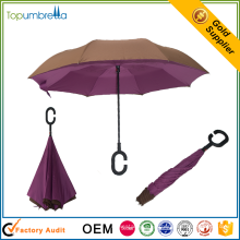 Atacado 23 polegada de mão aberta de plástico c lidar com inverter guarda-chuva de dobramento inversa