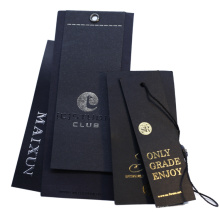 Custom Brand Logo Hang Labels 400GSM Black Cardboard Paper Swing Tags for Clothing