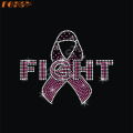 Fight Pink Ribbon Hot Fix Rhinestone Motif