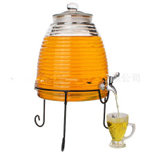 Glass Creal Beer Wine Dispenser with Faucet with Metal Base Stand