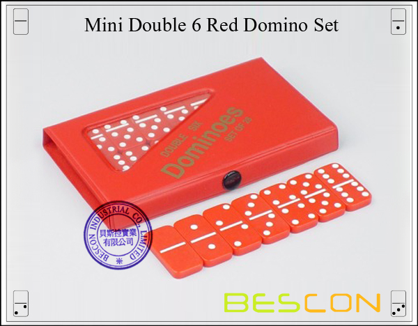Mini Double 6 Red Domino Set