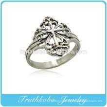 Alta calidad joyería de acero de titanio cristianismo religioso Jesús cruz diseño de anillo de dedo unisex para el regalo del día de san valentín