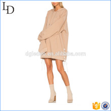 Hoodies longs de pull d'usine d'OEM avec des courroies simples lady hoodies robe