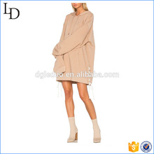 OEM factory pullover long hoodies with straps plain lady hoodies dress