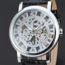 winner vintage mechanical watch with skeleton dial design leather band