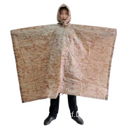 Desert Camouflage Poncho, Polyester Fabric with PU Coating.