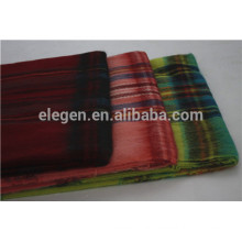100%Wool bright colors checks gradient scarf with Fringe