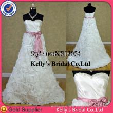 KB13054 Vestido de novia sin tirantes con tafetán