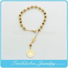TKB-B0062 Rosay Religiosos 6mm Contas de aço Inoxidável de Ouro Pulseiras católicas