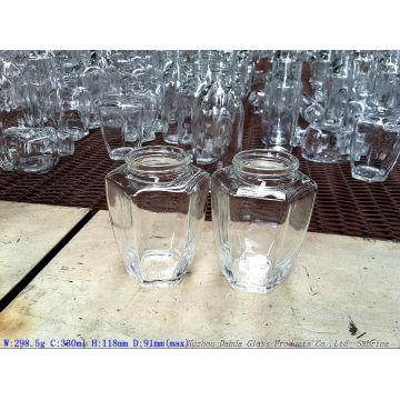 330ml Hexagon Glass Honey Jar with Tin Lids High Quality
