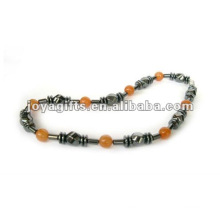Hematite Red Aventurine beaded Necklace