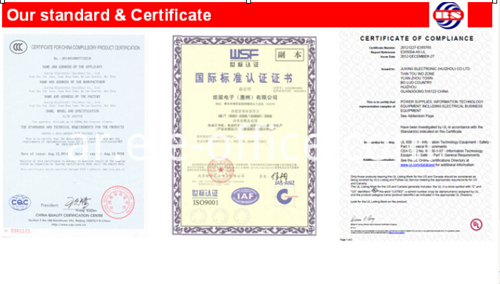 our standard and certificate