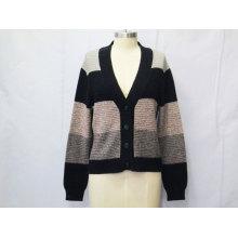 Femmes Tricots à rayures à manches longues Cardigan Sweater