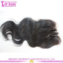 Atacado indiano remy cabelo humano 3 parte closure Lace Top fechamentos de três vias