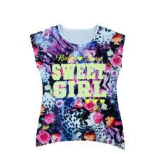 Allover Print Girl Camiseta Flower Children Wear (STG018)