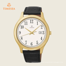 Relógio de pulseira de couro preto Timesea Men′s branco Dial 72285