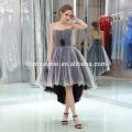 Factory Custom Made Off-Shoulder Short Front Long Back White Chiffon Black Evening Dress