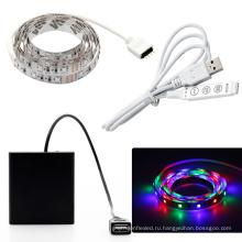 Батарейках светодиодные полосы света IP65 Водонепроницаемый 3528 СМД 2м 1М 0,5 м ленты СИД с коробкой батареи холодный белый/теплый белый/RGB