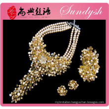 Luxury Jewelry Fashion Crystal Pearl Golden African Jewelry Set