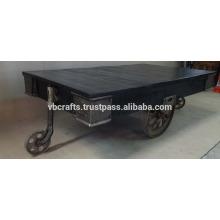 Vintage Industrial Cart Table, New Design Black Color Antique Nickel