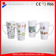 China fabricante de logotipo personalizado de porcelana blanca tazas / tazas de cerámica