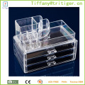 Eco-friendly Clear Acrylic Cosmetic Makeup Organizer Storage Box With 3 Drawers acrylic makeup organizer