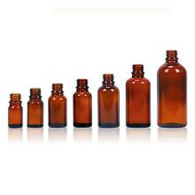 Garrafa de vidro âmbar, com acabamento DIN18mm, óleo essencial e líquido E