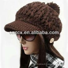 13ST1045 mais recente design malha senhoras moda chapéus