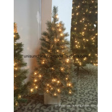 Árvore de Natal 4W Potted com LED Light e Glitter Silver (Decoração para casa)