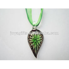 2014 wholesale Lampwork Glass Pendant Necklace Lampwork glass Necklace leaf pendant with wax cord