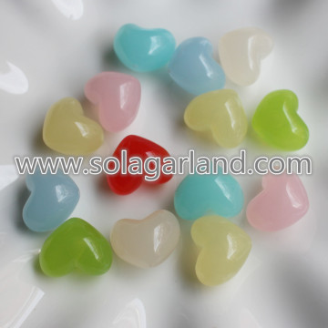 15*18MM Acrylic Plastic Translucence Heart Beads Charms