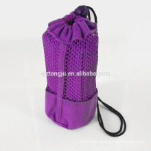Suede microfiber round beach towel with mesh bag