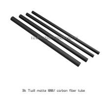 Tubos de fibra de carbono envueltos en rollo liso / sarga 3K de 5x3x1000 mm