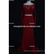2017 Vestido largo atractivo del baile de fin de curso del partido del vestido de noche de la tela de la gasa de la sirena magnífica del cordón