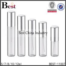 exhibición de la botella de cristal del perfume del tubo, exhibición de la botella de cristal del tubo con la tapa del metal