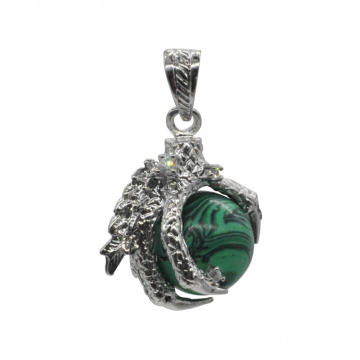 Nuevos productos 2016 Charm Jewelry Malachite Sphere Dragon Ball Garra colgante